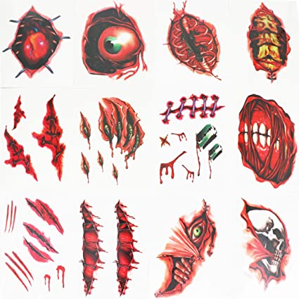 Halloween Scar Temporary Tattoos Scary Scratch Stickers Costume Fancy Dress