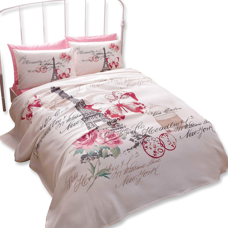 100% Turkish Cotton Paris Eiffel Tower Theme Themed Pink Butterfly Full Double Queen Size Pique Bedspread / Coverlet Set Bedding 4pcs!!