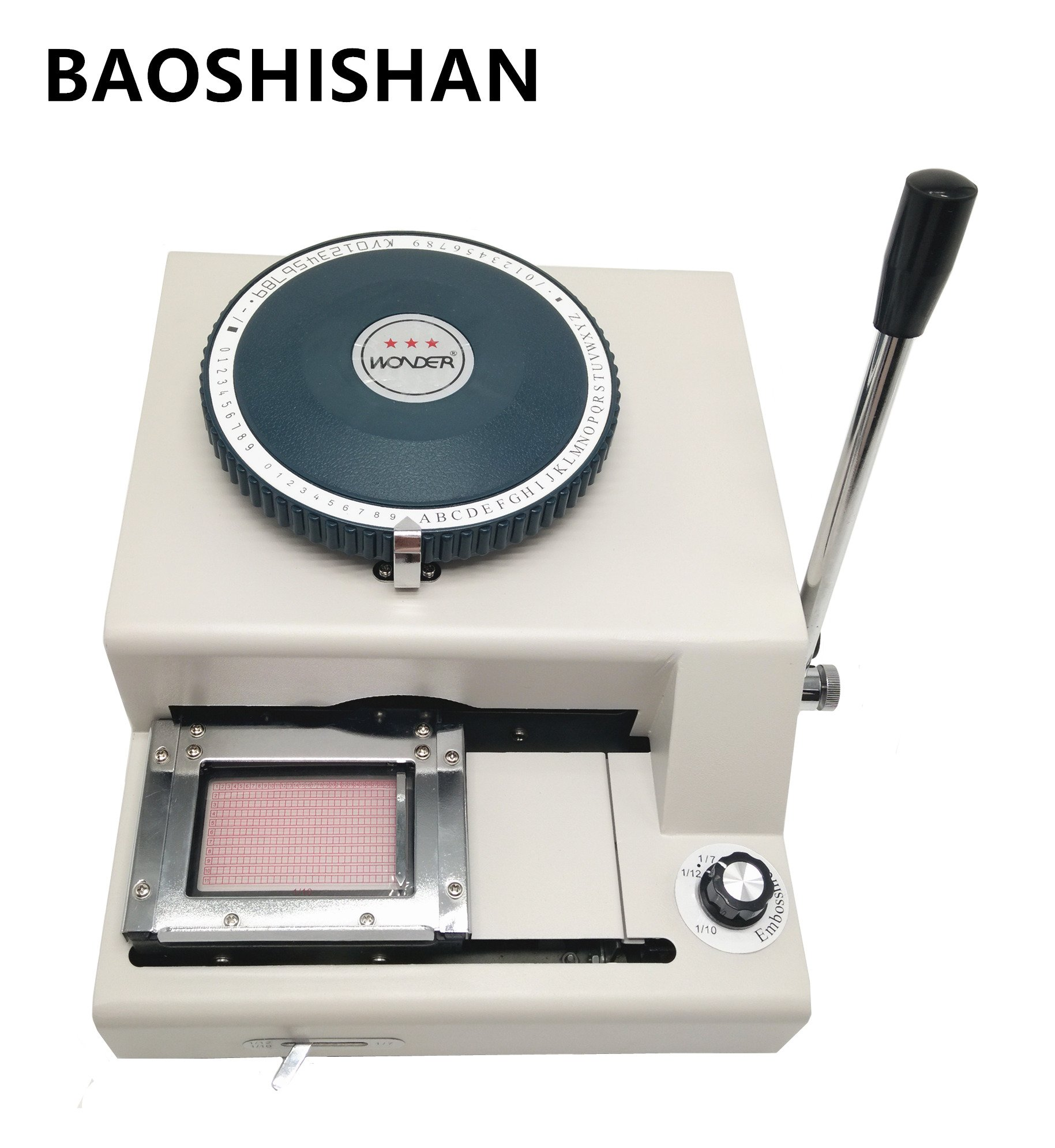 Boshi Electronic Instrument 2 in 1 75CE characters Manual PVC card Embosser machine + indent print Machine