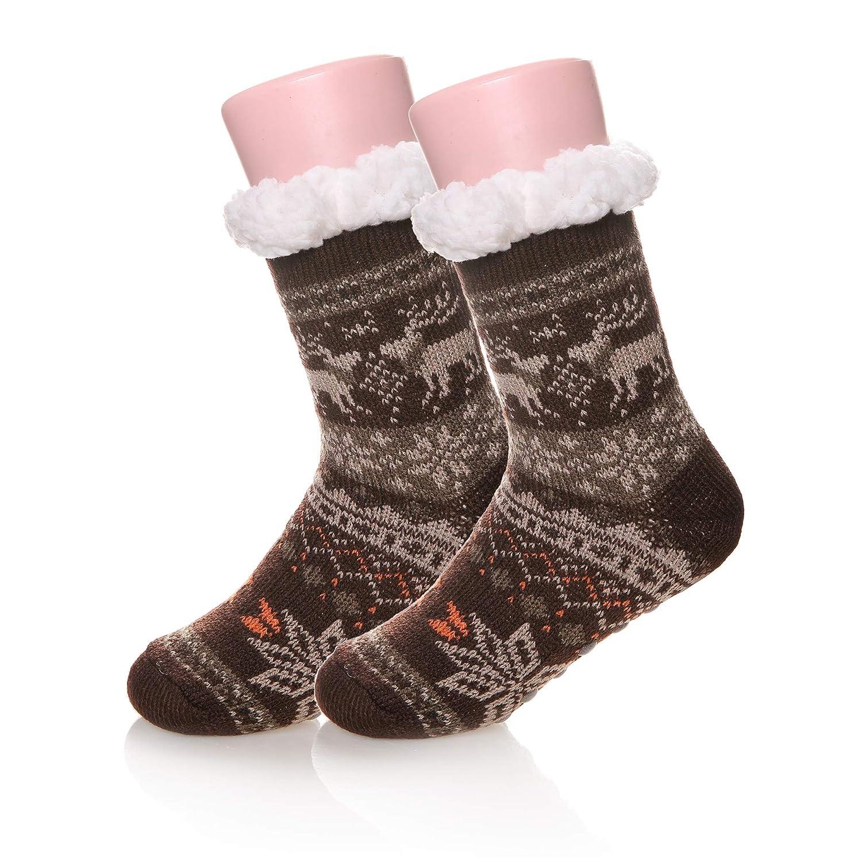 Children Boy Girl Soft Warm Winter Fuzzy Christmas Deer Kids Slipper Socks 8-12 Years)