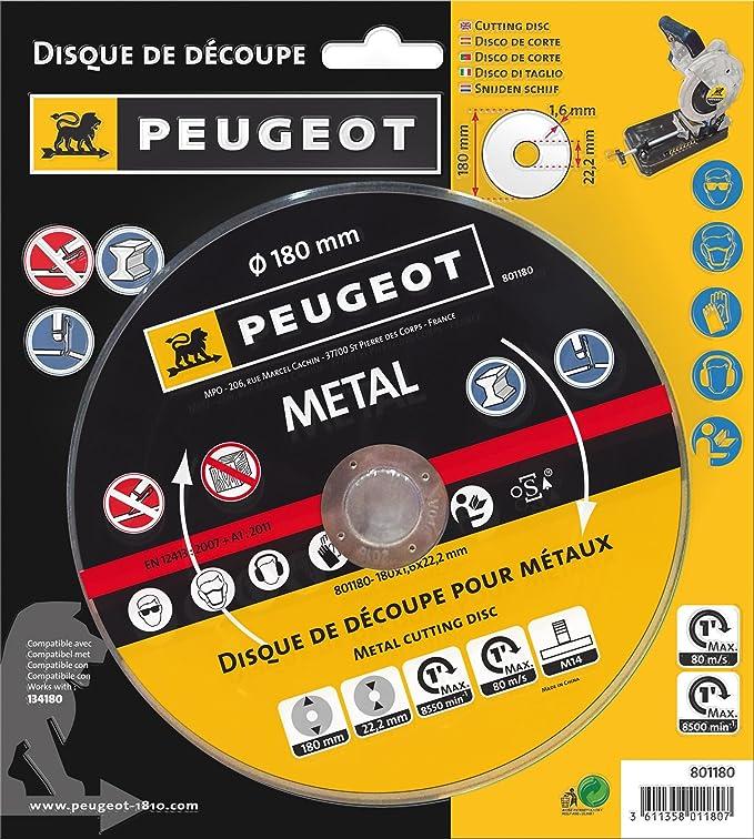 Peugeot Disque de découpe pour métaux 180 mm pour ENERGYCut 180MC Tronçonneuse à métaux 180/185 mm 1280 W