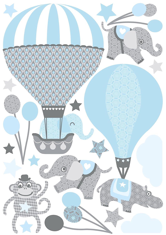 Anna Wand Wandsticker Hot Air Balloons Hellblau Grau Wandtattoo