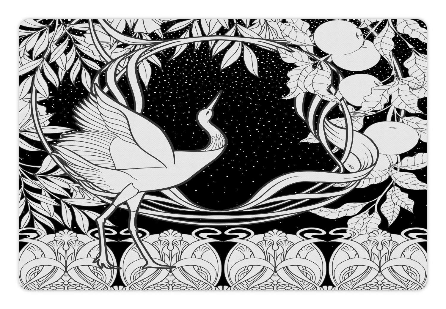 Lunarable art nouveau pet mat for food and water monochrome pattern delicate swamp bird at night apple leaves antique rectangle non slip rubber mat for
