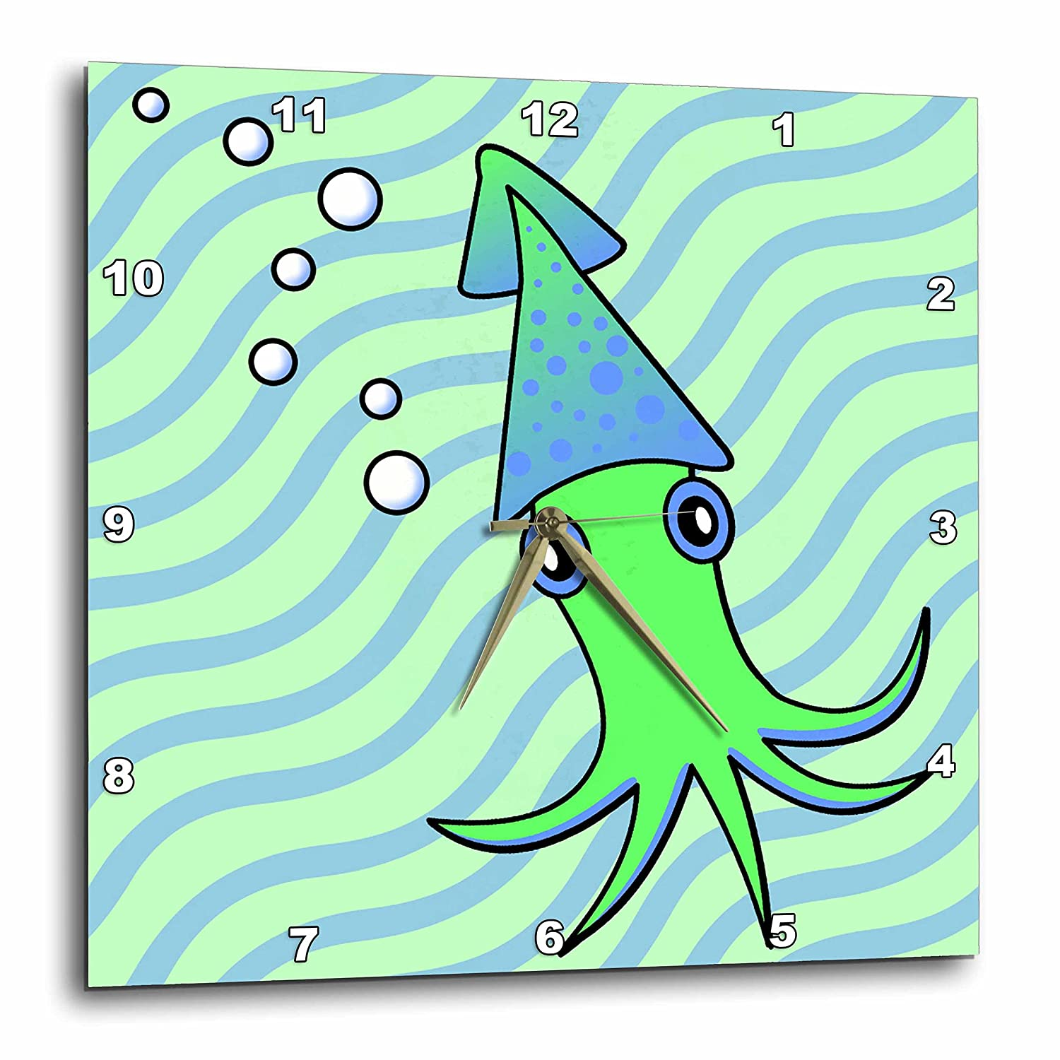 3dRose dpp/_13794/_1 Wall Clock 10 by 10-Inch Cute Green and Blue Squid