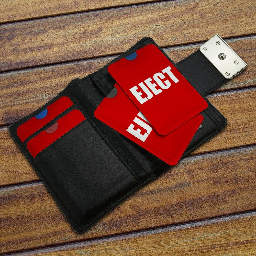 Red Eject Button Design Funny Credit Card RFID Blocker Holder Protector Wallet Purse Sleeves Set of 4