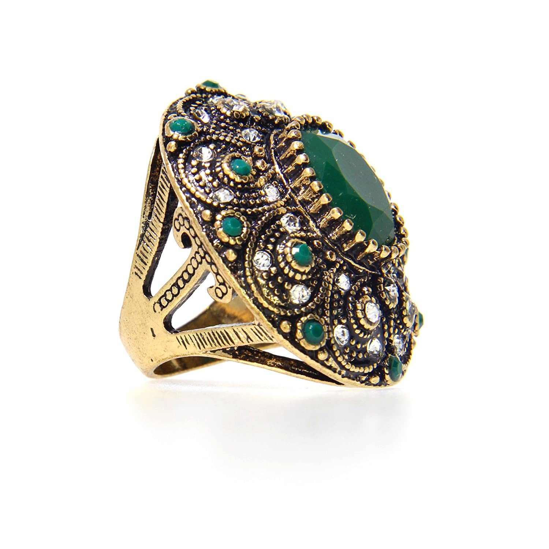 ファッションヴィンテージジュエリーリングメッキ古代ゴールドモザイクAAAクリスタルビッグオーバルグリーン作成された宝石リング B01LLX8V6O