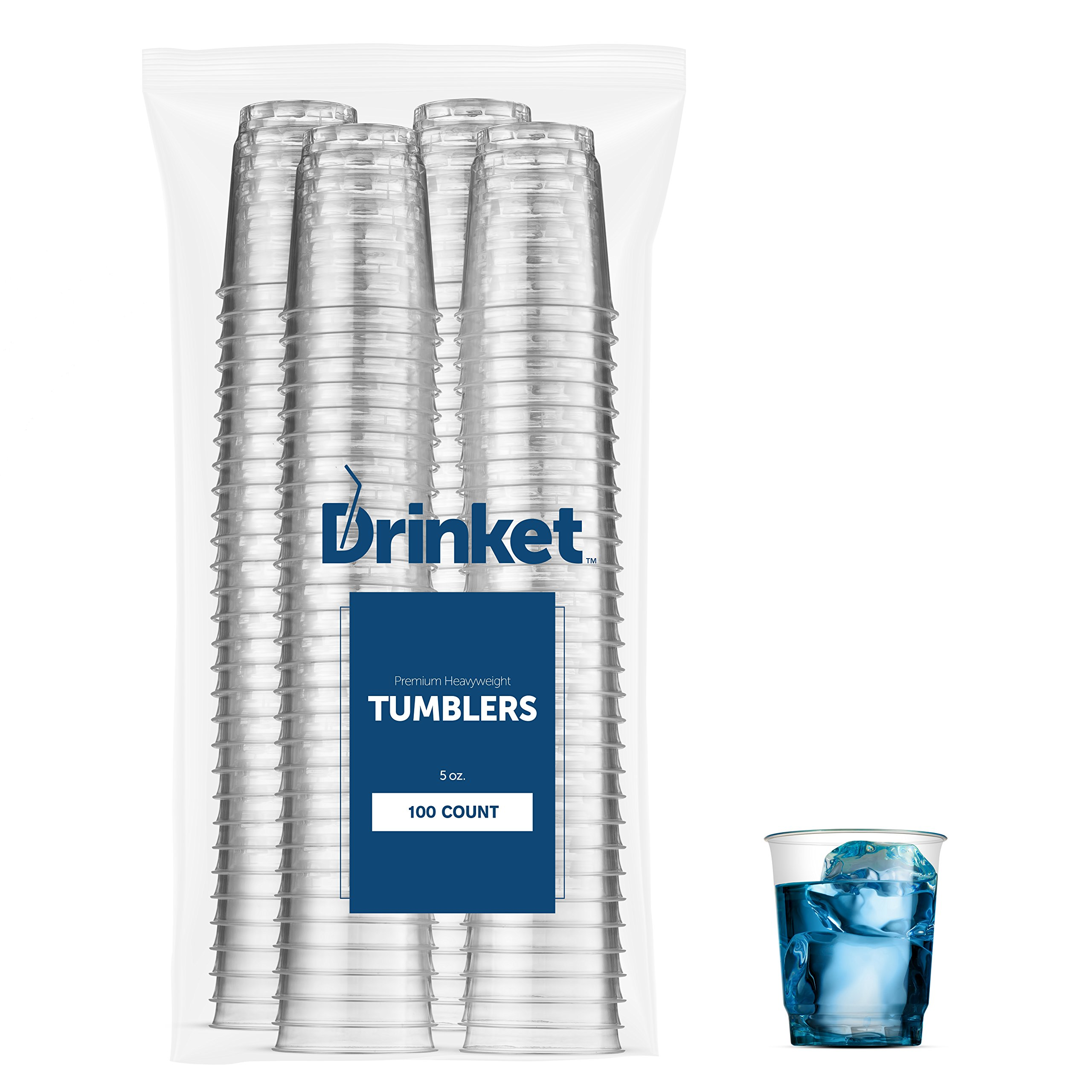 DRINKET Heavy Duty Crystal Clear Glasses Round Hard Plastic Cups 5 Oz Tumblers 100 Count Bulk Pack Disposable / Reusable | Essential Wine Champagne Flutes Cocktail, Everyday Drinking Cup