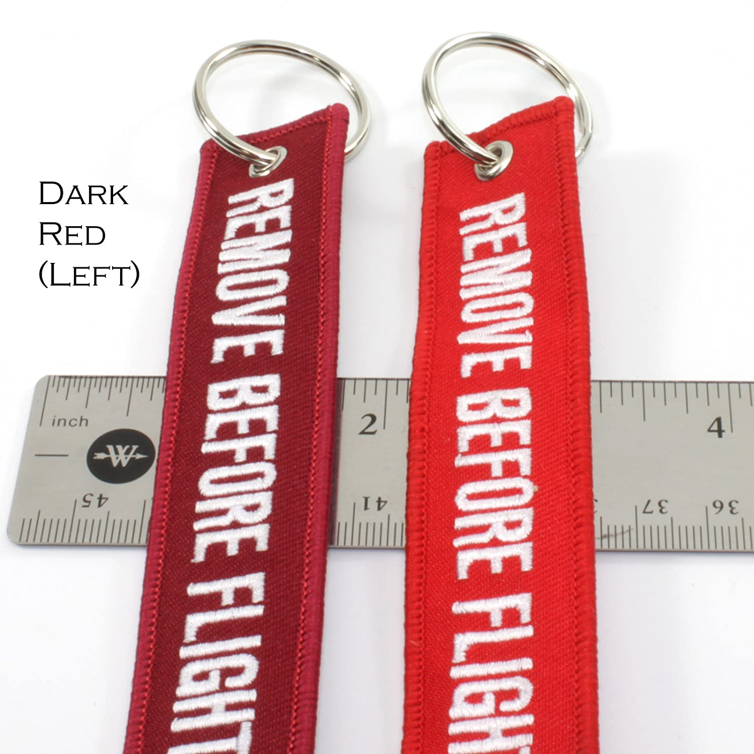 Remove Before Flight Dark RED Key Chain Aviation ATV Motorcycle Pilot Crew Tag