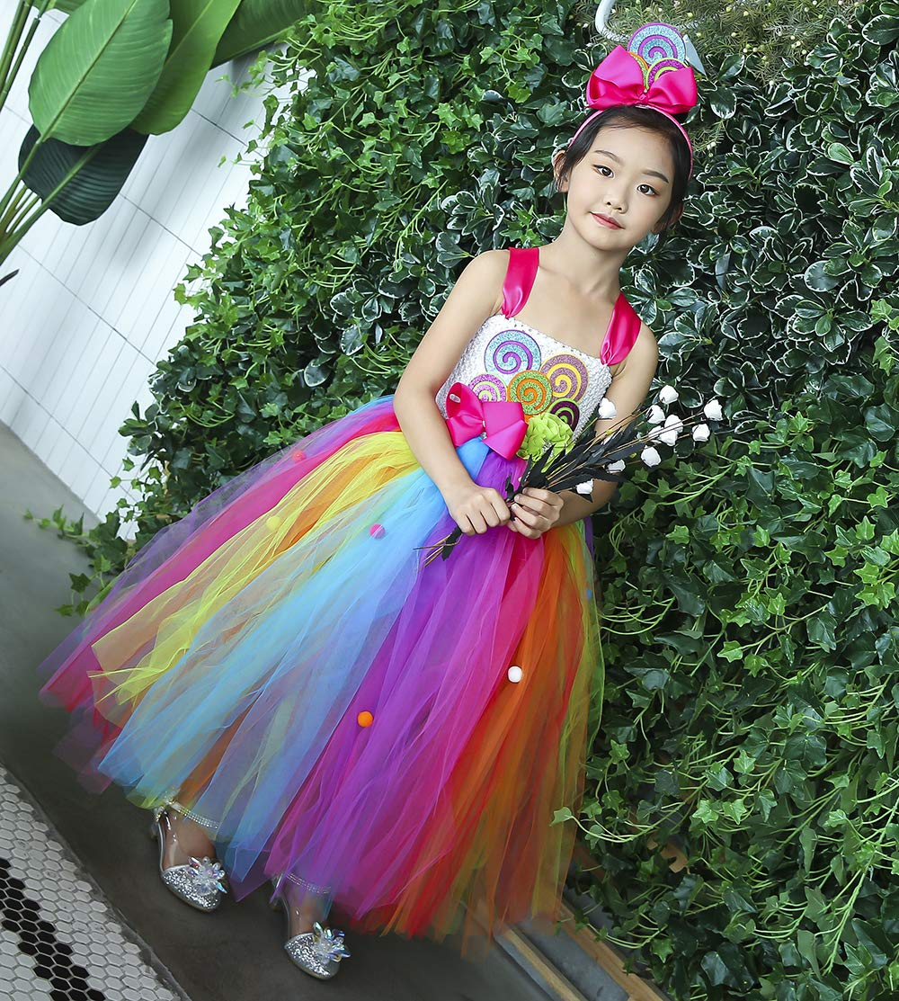Tutu Dreams Rainbow Lollipop Candy Tutu Dress Kids Girls Birthday Party Ringmaster Circus Clown Costumes Halloween (Rainbow, 8) by Tutu Dreams (Image #5)