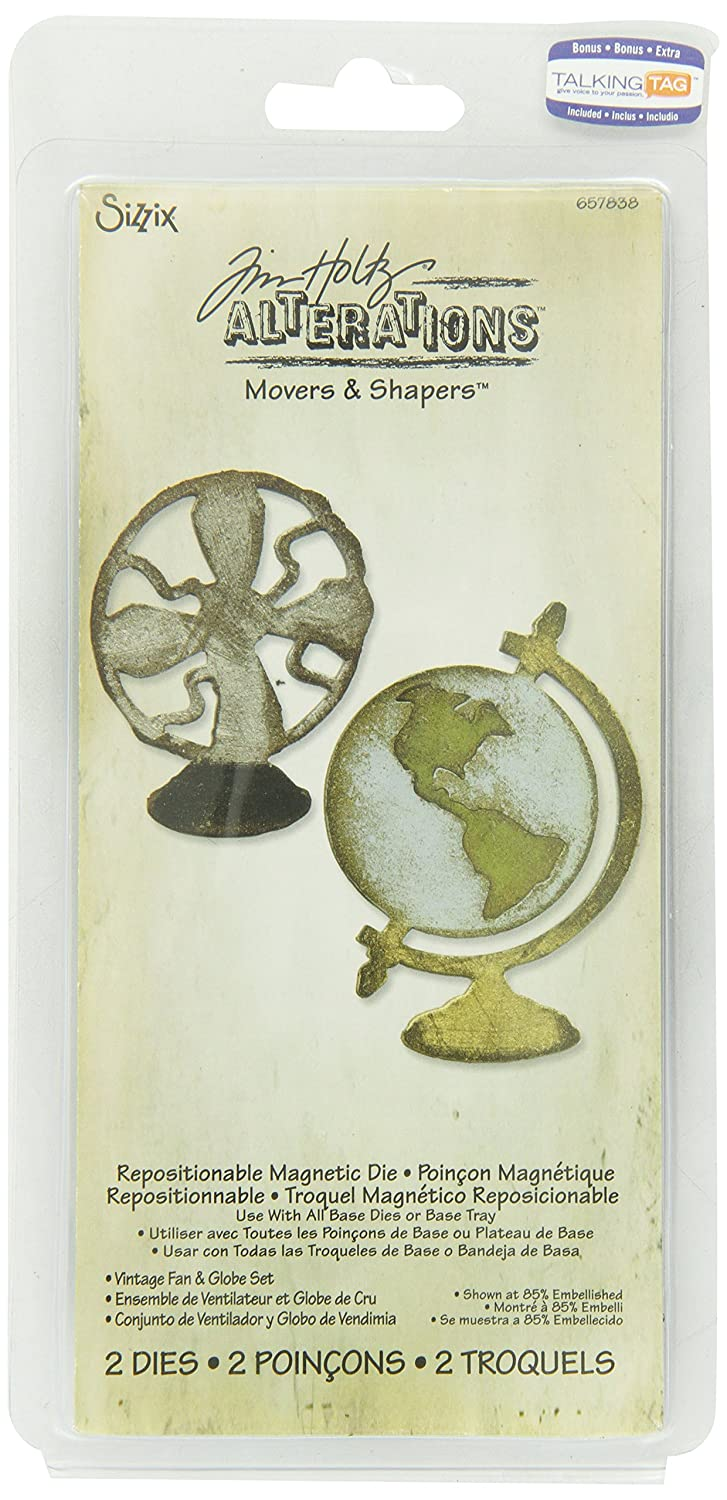 Amazon.com: Sizzix Movers & Shapers Magnetic Die Set 2PK - Vintage Fan & Globe Set by Tim Holtz