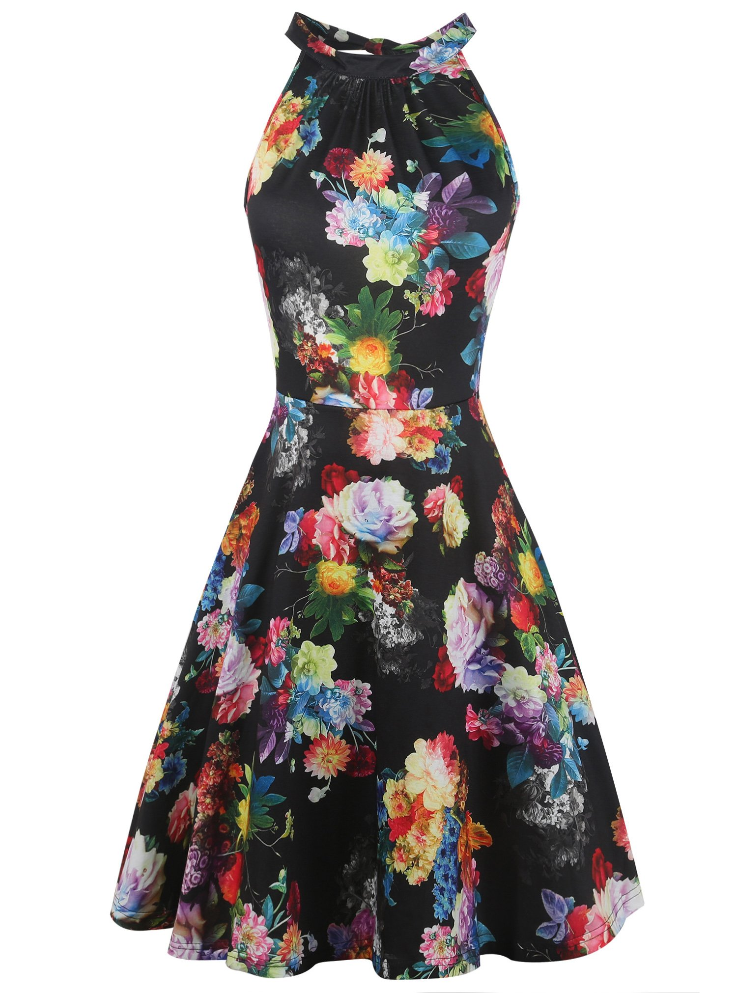 oxiuly Women's Chic Sleeveless Halter Neck Floral Patchwork Casual Cocktail Party Swing Summer Dress OX258 (L, Black Rose)