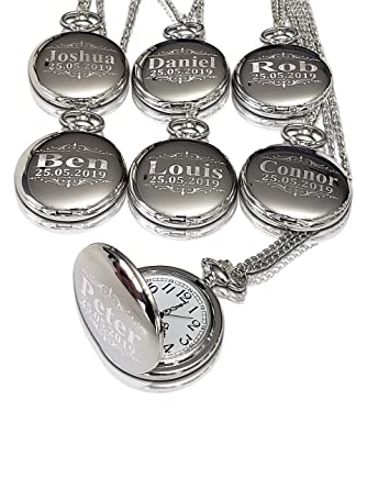 7f1e6c092 6 Pocket Watch Set - Personalized Unique Wedding Gift for Men and Women -  Boxes,