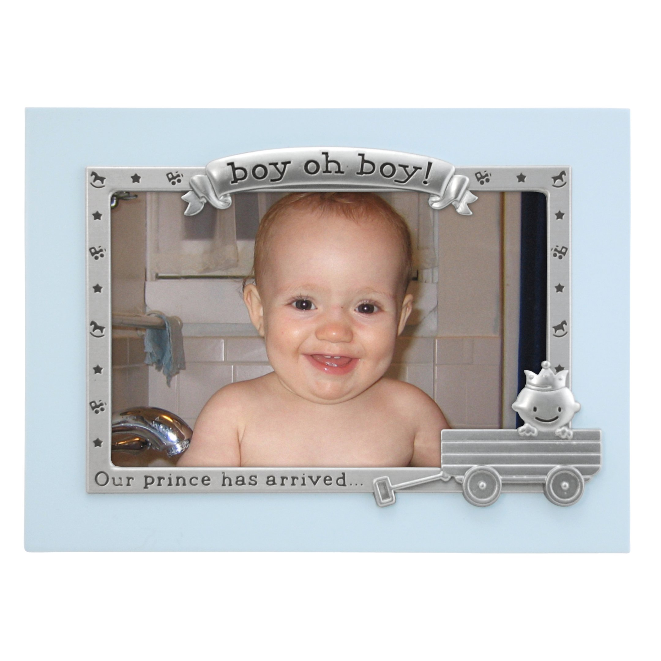 Malden International Designs Boy Oh Boy Juvenile Blue with Silver Metal Border Picture Frame, 4x6, Blue by Malden International Designs (Image #1)