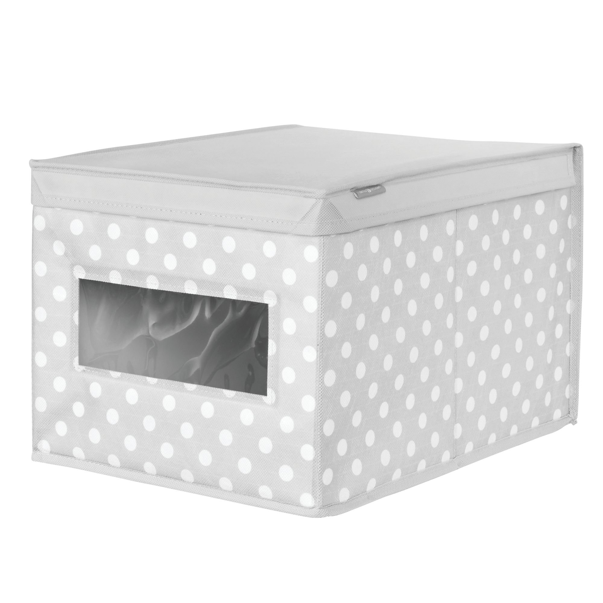 mDesign Soft Stackable Fabric Closet Storage Organizer Holder Box - Clear Window, Attached Hinged Lid, for Child/Kids Room, Nursery - Polka Dot Pattern - Large, Pack of 2, Light Gray with White Dots by mDesign (Image #7)
