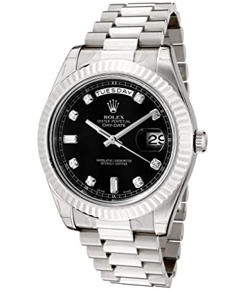 423cc74012f2 Amazon.com  Rolex Men s Day-Date II Automatic White Diamond Black Dial  President 18k Solid White Gold  Watches