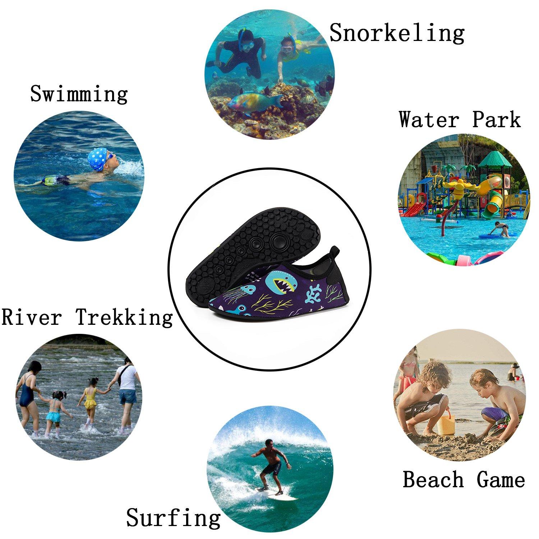 CiiaoLeoo Kids Water Shoes Quick-Dry Swim Barefoot Aqua Socks Shoes for Beach Pool Surfing Dance
