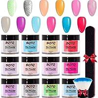 BQTQ 12 Colors Nail Dip Powder Dipping Powder Nail Kit with a Nail Brush and a Nail File Professional Polymer Colorful…