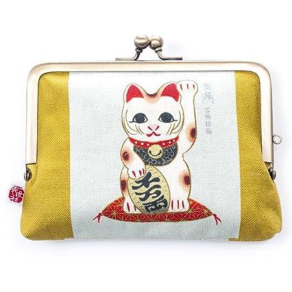 Amazon.com: Monedero japonés de gato de la suerte