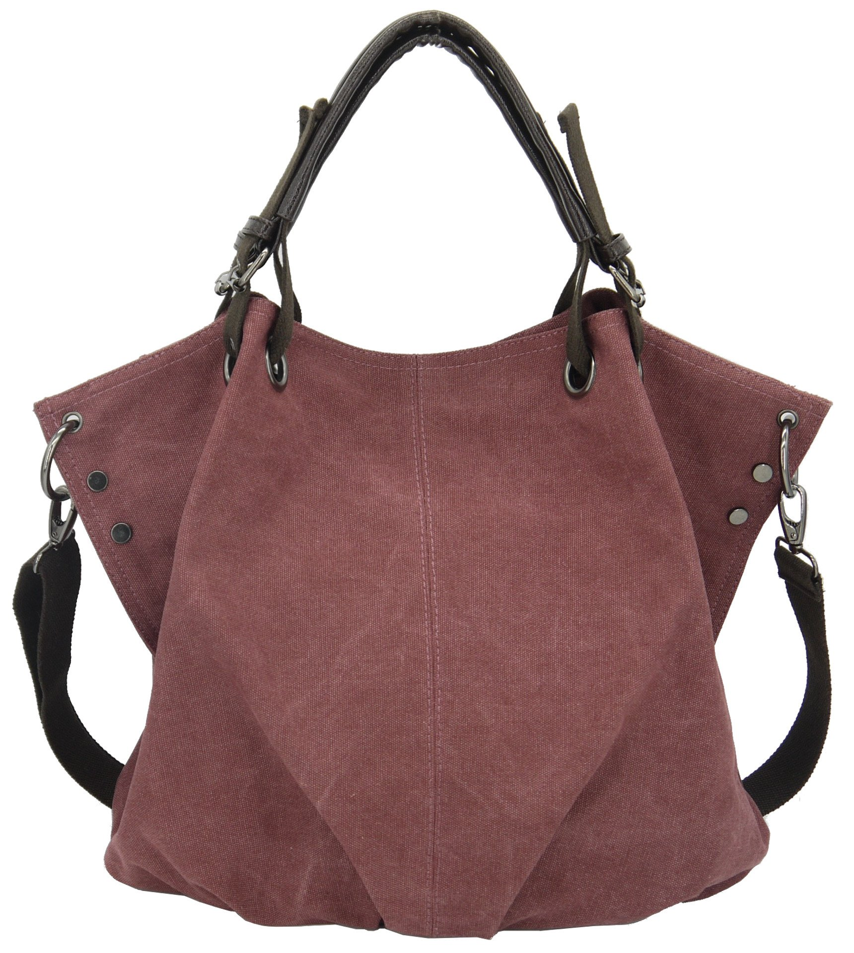 Women Canvas Large Bag w/Cross-Body Strap, 2-Way Shoulder Tote (KIREI obsession) LARGE RED