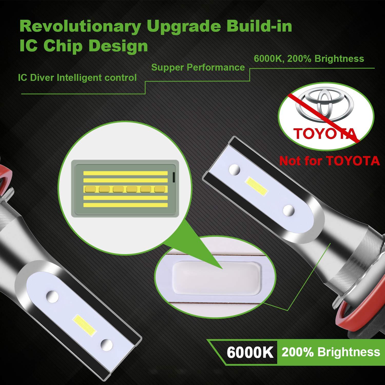 Bombilla Faros LED POMILE 8000LM 4000 x 2 Blanco, 9005//9006 Xen/ón blanco Temperatura de color de luz 5500K//6000K 28W x 2 LED 9005 Controlador integrado Chip IC potencia nominal 56W