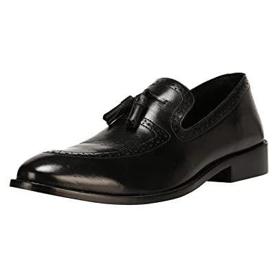 Liberty Men's Leather Handmade Tassel Loafer Slip On Dress Shoes   Loafers & Slip-Ons
