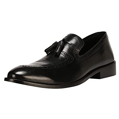 5d9eef6da2 Liberty Men s Leather Handmade Tassel Loafer Slip On Dress Shoes Black