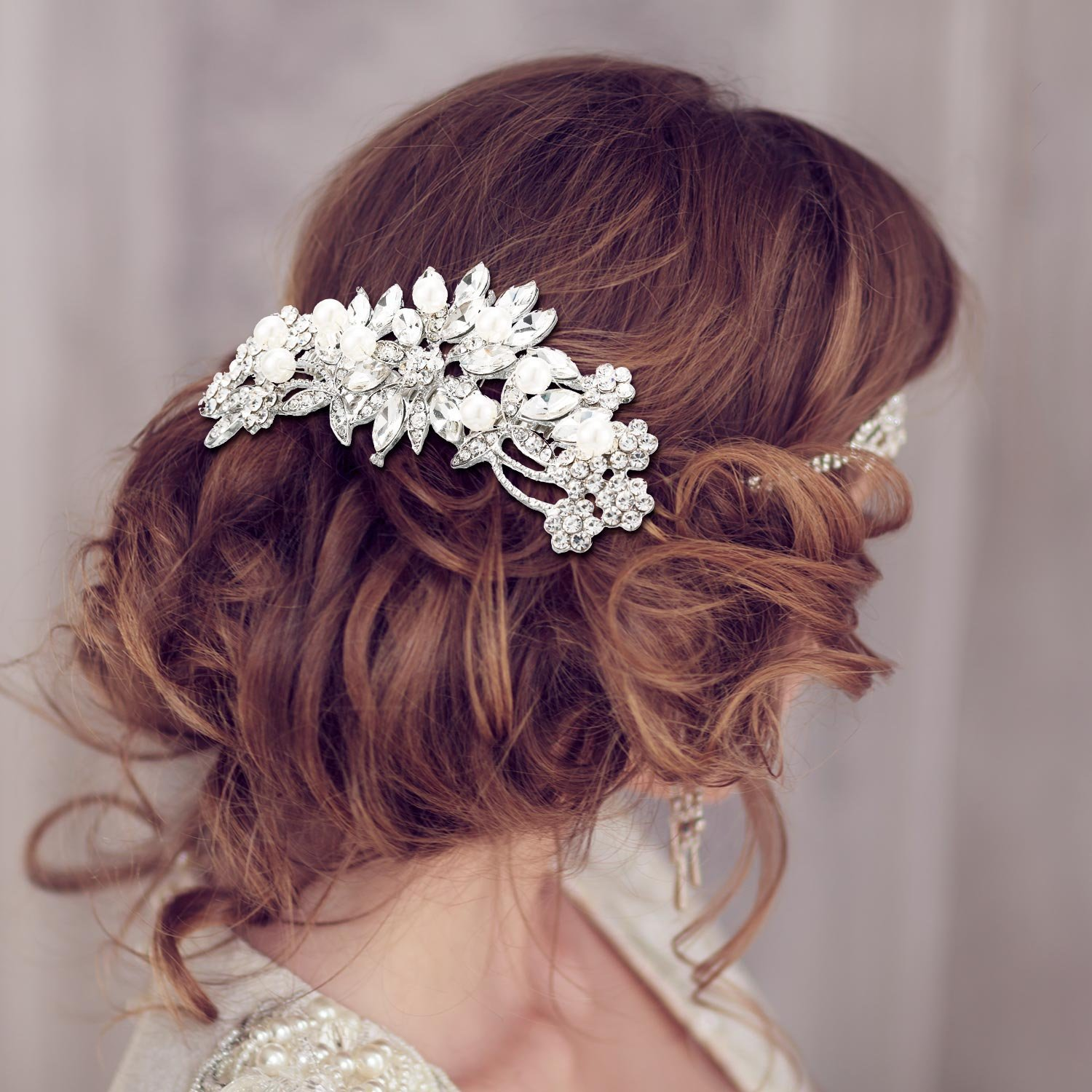 Gejoy 3 Pieces Elegant Wedding Crystal Hair Accessories, Leaves Flowers Hair Comb and 2 Pieces Rhinestone Bridal Hair Pins for Women, Bride or Bridesmaid by Gejoy (Image #4)