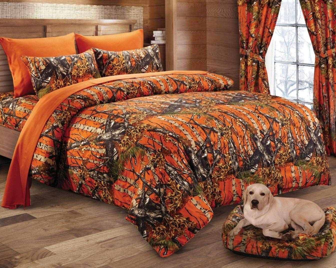 Regal Comfort The Woods Orange Camouflage 7pc King Size Bed Set ~ Comforter, Flat Sheet, Fitted Sheet and 4 Pillowcases ~ Camo Bedding