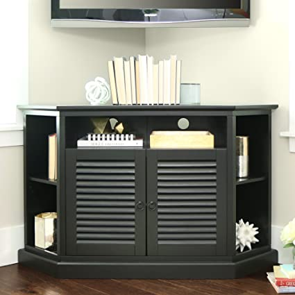Amazon Com 52 Inch Contemporary Wood Corner Tv Stand Black Finish