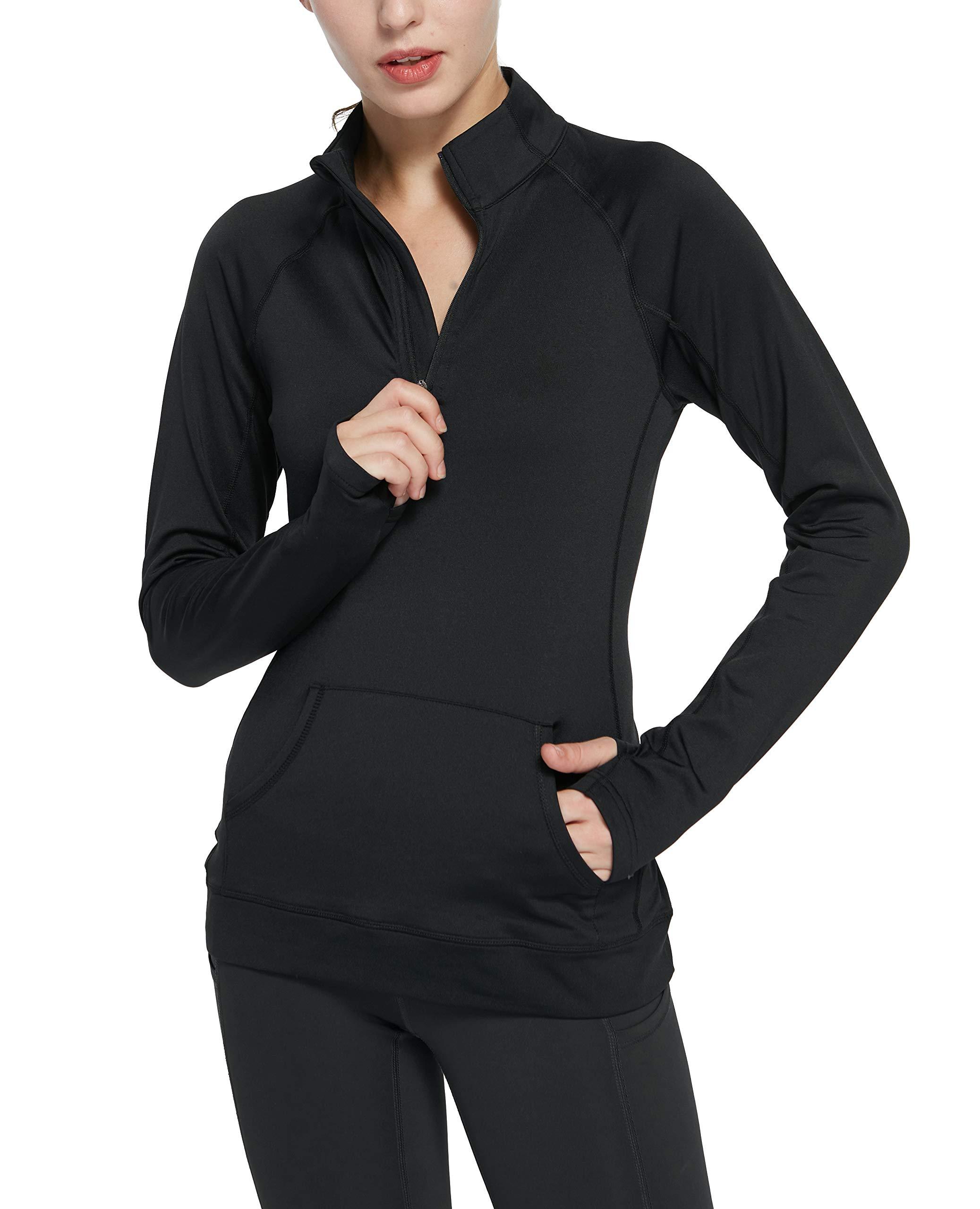 Cityoung Women's Yoga Long Sleeves Half Zip Sweatshirt Fleece Athletic Workout Running Track Jacket m bk by Cityoung