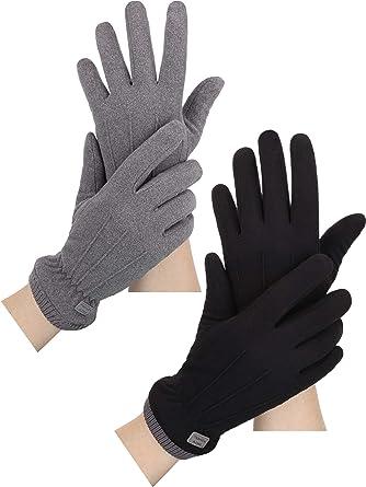 2 Pair Women/'s Fleece Gloves