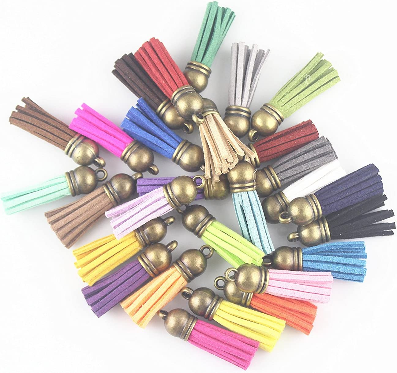 Antique Bronze Cap QIANHAILIZZ 100 Mixed Color 38mm Faux Suede Tassel with CCB Cap for Keychain Cellphone Straps Jewelry Charms