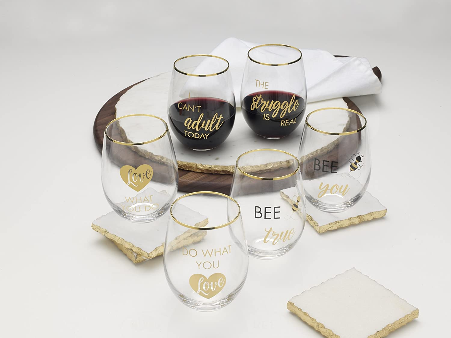 Amazon.com | Mikasa Stemless Wine Glass Gift Set, 18-Ounce, Bee True ...