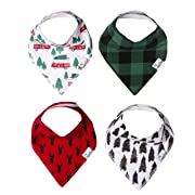 """Baby Bandana Drool Bibs for Drooling and Teething 4 Pack Gift Set for Girls or Boys """"Nicholas"""" by Copper Pearl"""