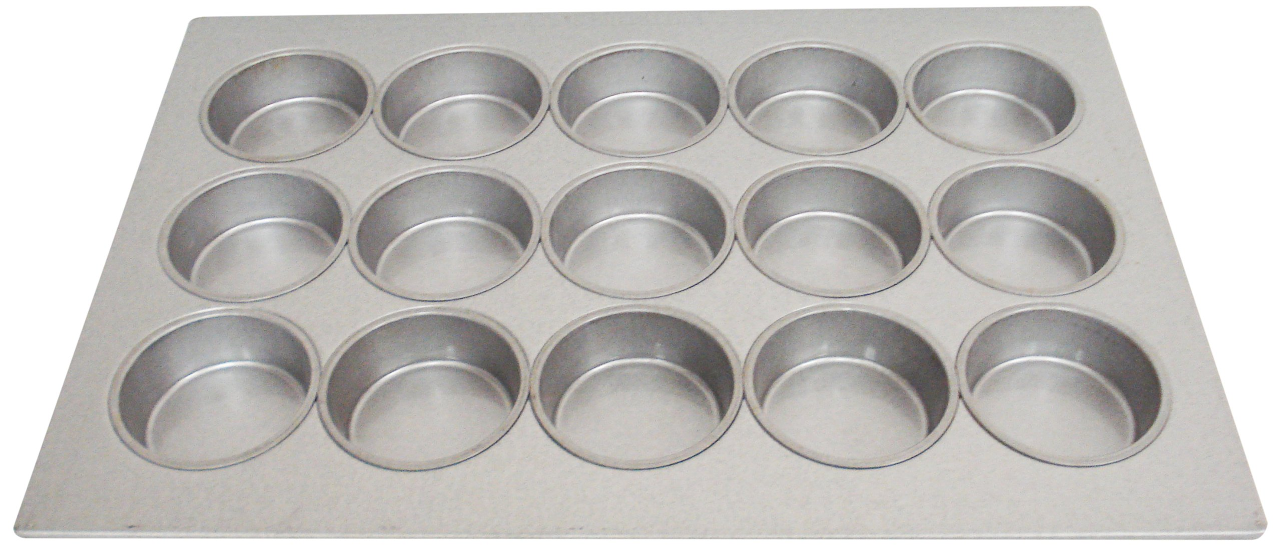 Magna Industries 15362 22-Gauge Aluminized Steel Mini Cake Muffin Pan, 4-1/4'' Diameter, 3 x 5 Cups Layout (Pack of 6)
