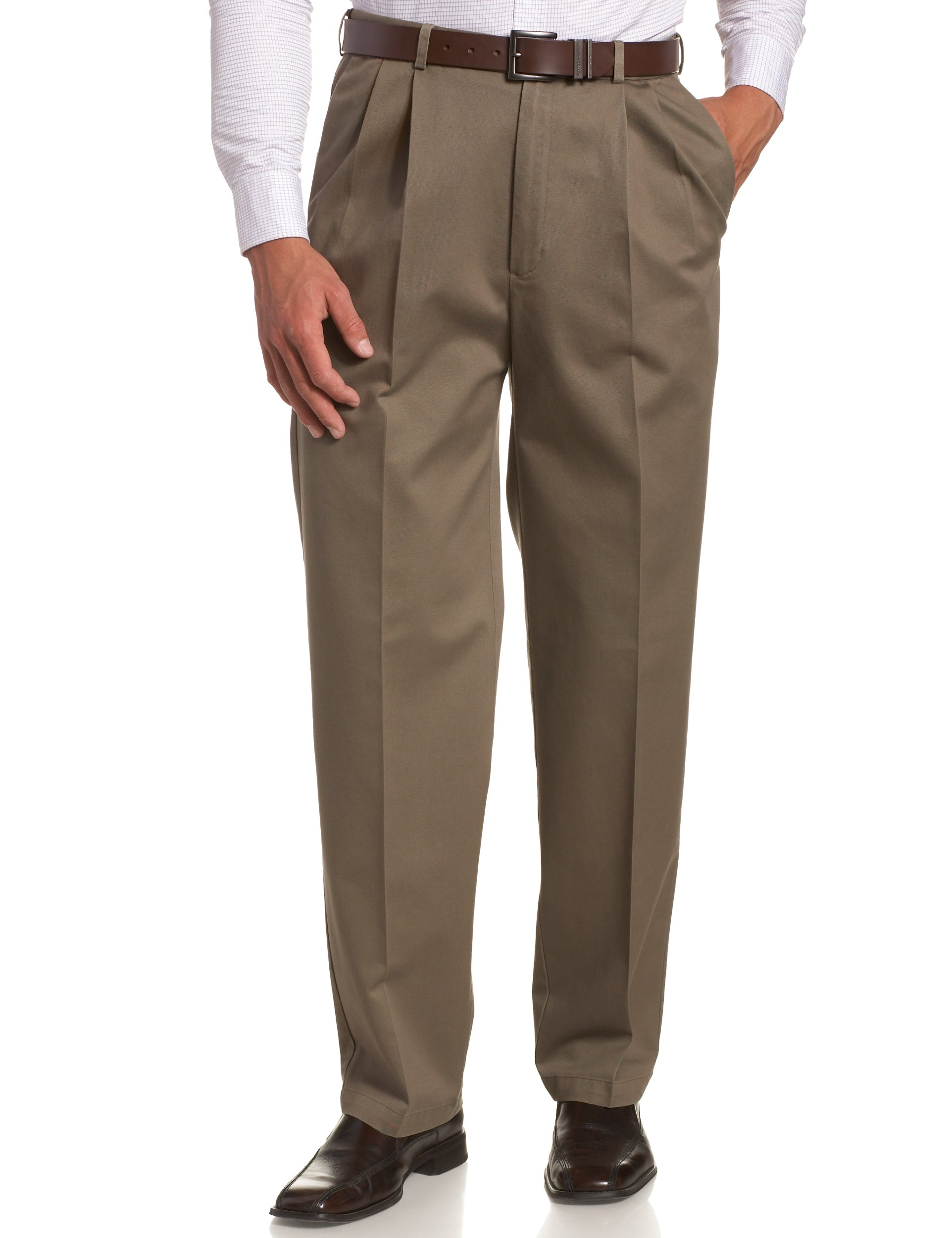 Haggar Men's Work To Weekend Khakis Hidden Expandable Waist No Iron Pleat Front Pant,Bark,42x29