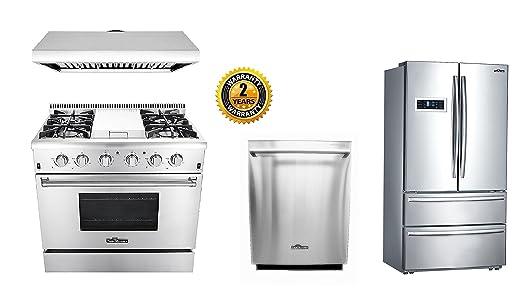Amazon.com: Thor Kitchen 36\'\' Pro Gas Range 4-Piece Set: Appliances