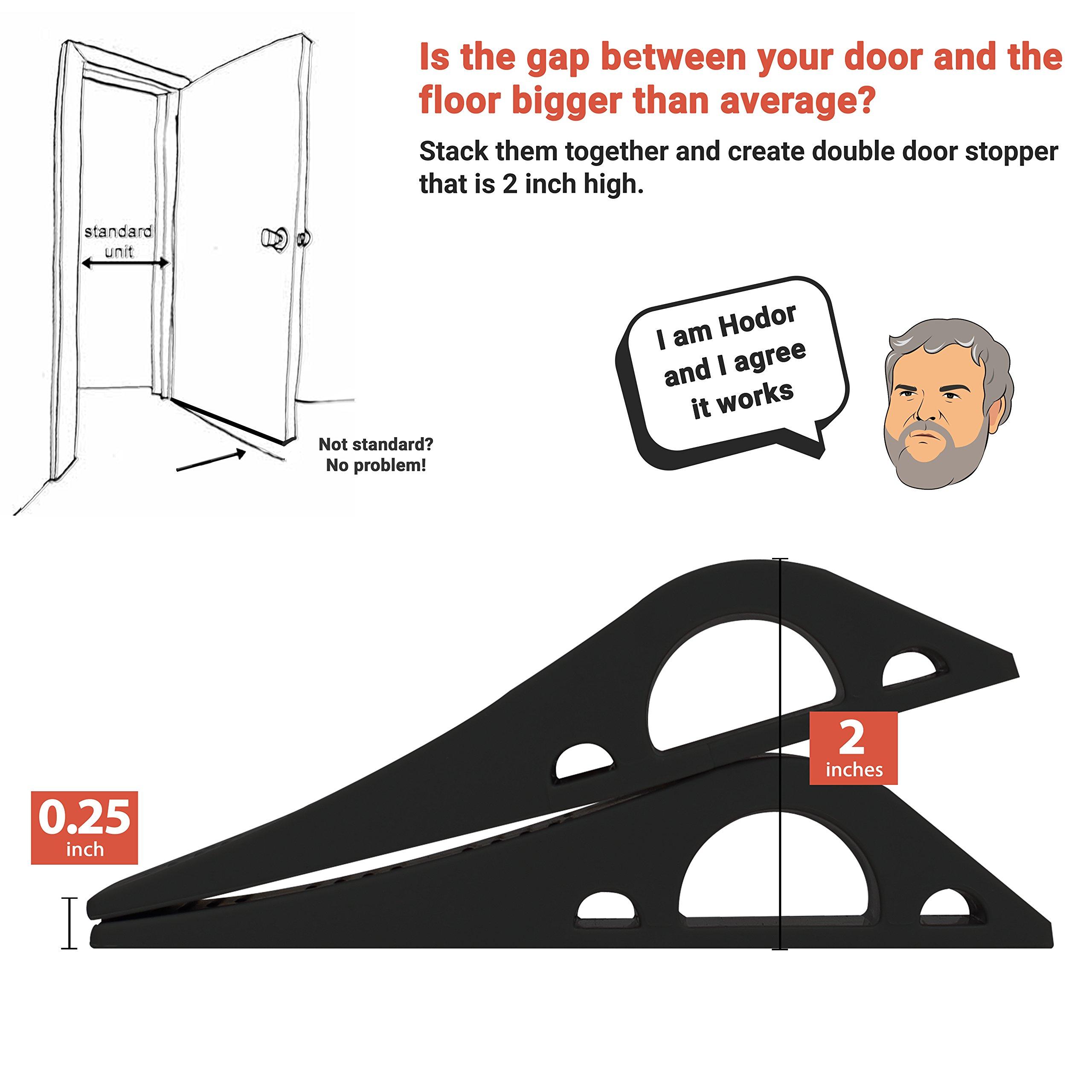 Wundermax Decorative Door Stopper with Free Bonus Holders, Door Stop Works on All Floor Surfaces, Premium Rubber Door Stops, The Original (3 Pack, Black) by Wundermax (Image #6)