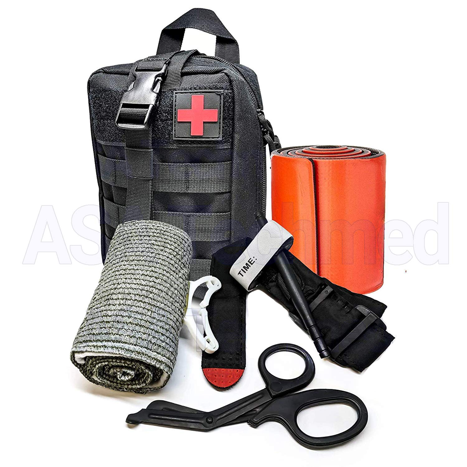 Tactical Medical Survival Tool Kit - Combat Tourniquet - Israeli Compression Bandage - Roll Up Splint - MOLLE System - IFAK - Trauma Kit - Ideal Kit for Military, EMT, Police, Firefighter and Hunting ASATechmed