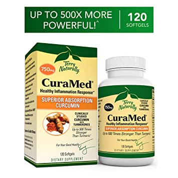 Terry Naturally CuraMed 750 mg - 120 Softgels - Superior Absorption BCM-95  Curcumin Supplement,