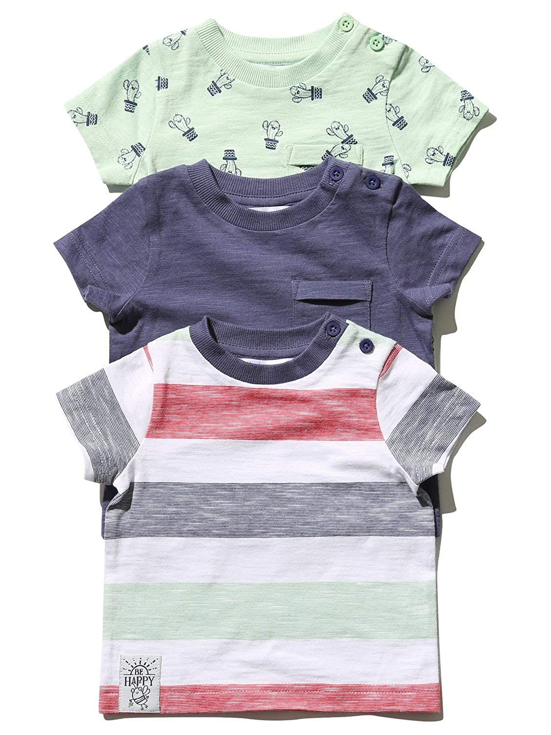 M/&Co Baby Boy Stripe Cactus T-Shirts Three Pack with Short Sleeves