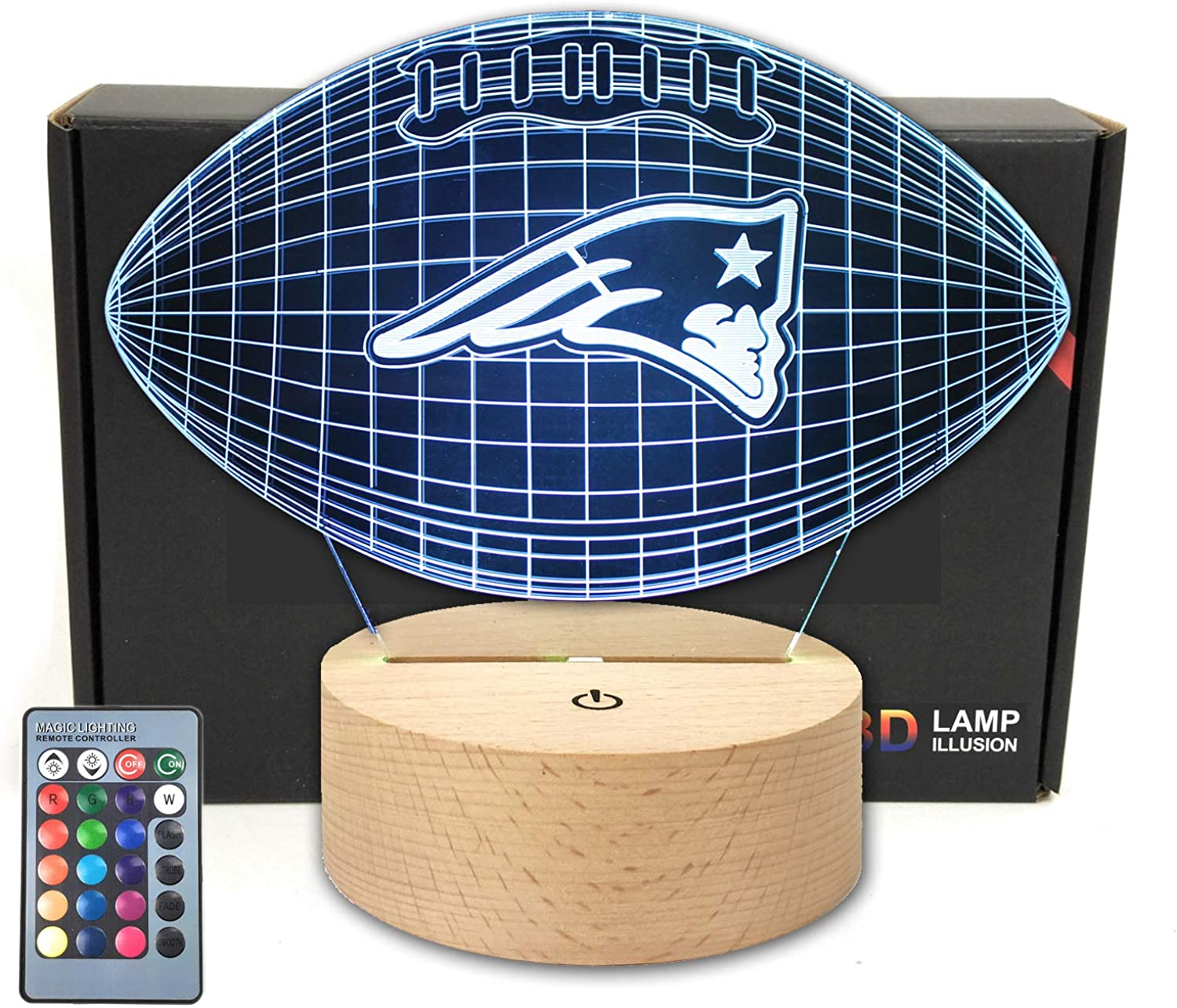 Remote Football Shape 3D Optical Illusion Night Light 7 Colors LED Table Lamp for Patriots Football Fans Gift with Wooden Base
