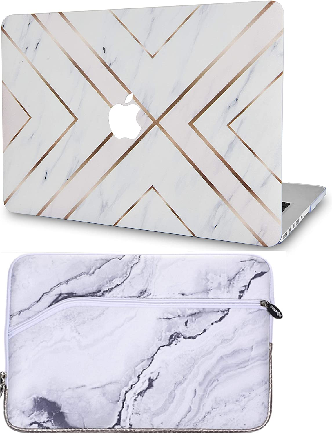 """LuvCase2in1LaptopCasewithSleeveforMacBookPro 13"""" (2016-2020 Release) w/wo Touch Bar A2251/A2289/A2159/A1989/A1706/A1708 RubberizedPlasticHardShell Cover (White Marble Gold Stripes)"""