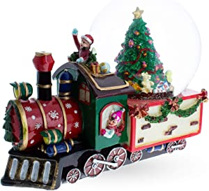BestPysanky Train with Children and Christmas Tree Musical Snow Globe