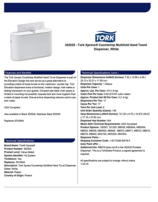 Tork Xpress 302020 Countertop Multifold Hand Towel Dispenser, Plastic, 7.92