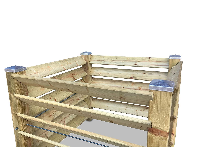 ca GartenDepot24 Komposter Brettkomposter aus Holz mit 4 verzinkten Pfostenkappen 650 L 100x100x80 cm