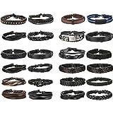 Finrezio 24 PCS Black Braided Leather Bracelets Set for Men Wrap Cuff Bracelet Adjustable
