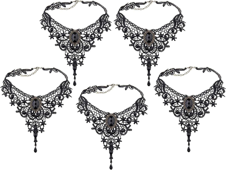 Collar Encaje,Negro Neckchain Gotico Romantico Retro Joya Encaje Gargantilla Collares Ajustables Tatuaje Gargantilla Gótica Lolita Colgante Para Niñas Mujeres Boda Cumpleaños Hallowen Navidad Custume
