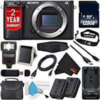 Sony Alpha a6300 Mirrorless Digital Camera (International Model) + NP-FW50 Replacement Lithium Ion Battery + External Rapid Charger + 128GB SDXC Class 10 Memory Card Bundle