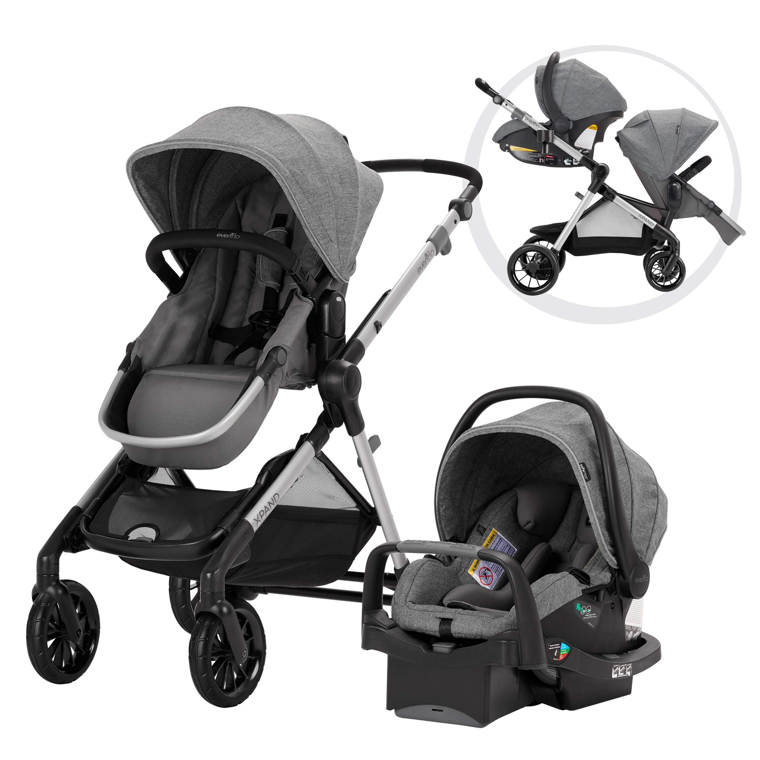 Evenflo Pivot Xpand Modular Travel System, Baby Stroller, Up to 22 Configurations, Extra-Large Storage, Single-to-Double Stroller, Durable Construction, Compact Folding Design, Percheron Gray by Evenflo
